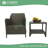 UV resistant ourdoor furniture coffee tea table and PE rattan chair for garden set