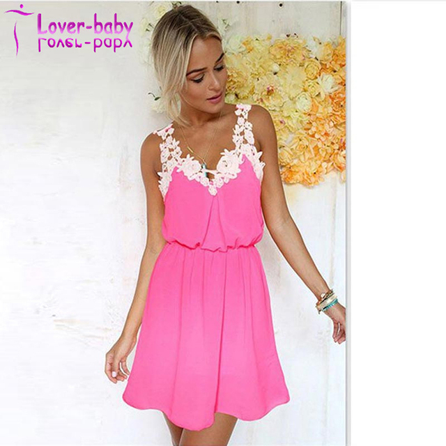 Lace Chiffon Sleeveless Short Mini Babydoll Sleeping Dress L282424-3