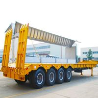 Manufacturer 80Ton long vehicle width extendable flat lowbed trailer
