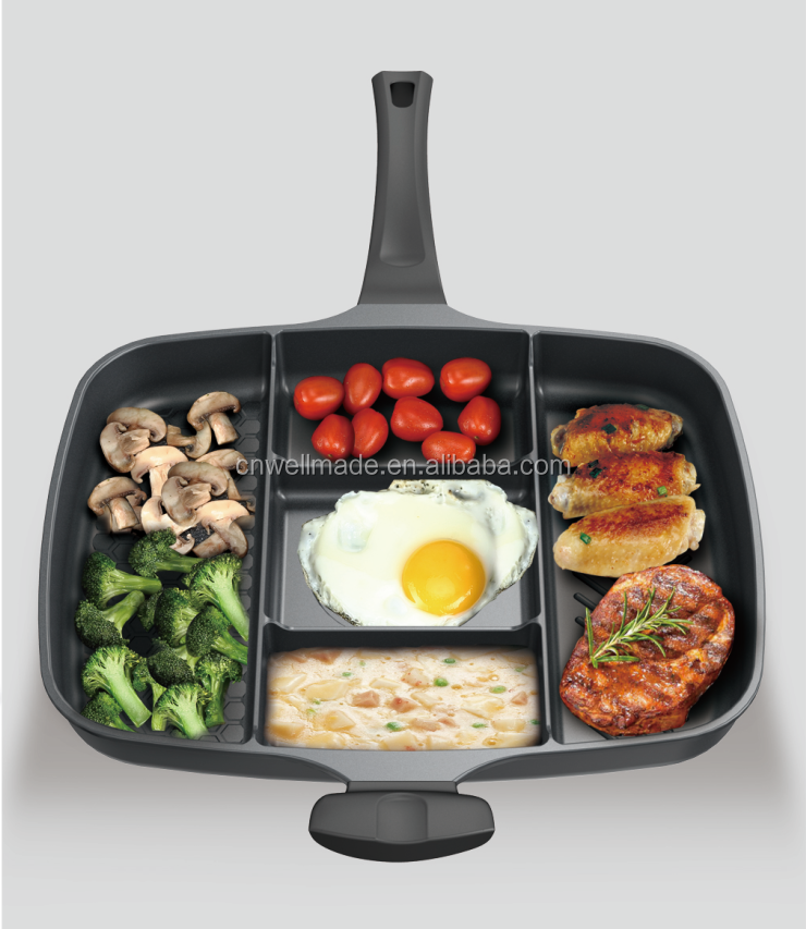 Die-casting Multifunctional Cookware 5 in 1 Grill Pan Nonstick Divided Frying Pan As seen on TV