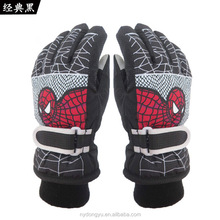 black red spider 4-12 year old kid thermal cylcing skiing gloves pink purple boy water proof spider ski gloves