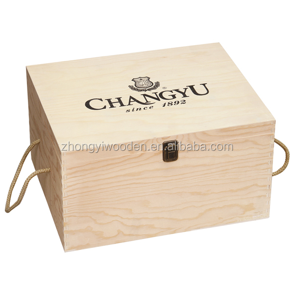 Natural handcraft gift packing custom wooden wine bottle display box