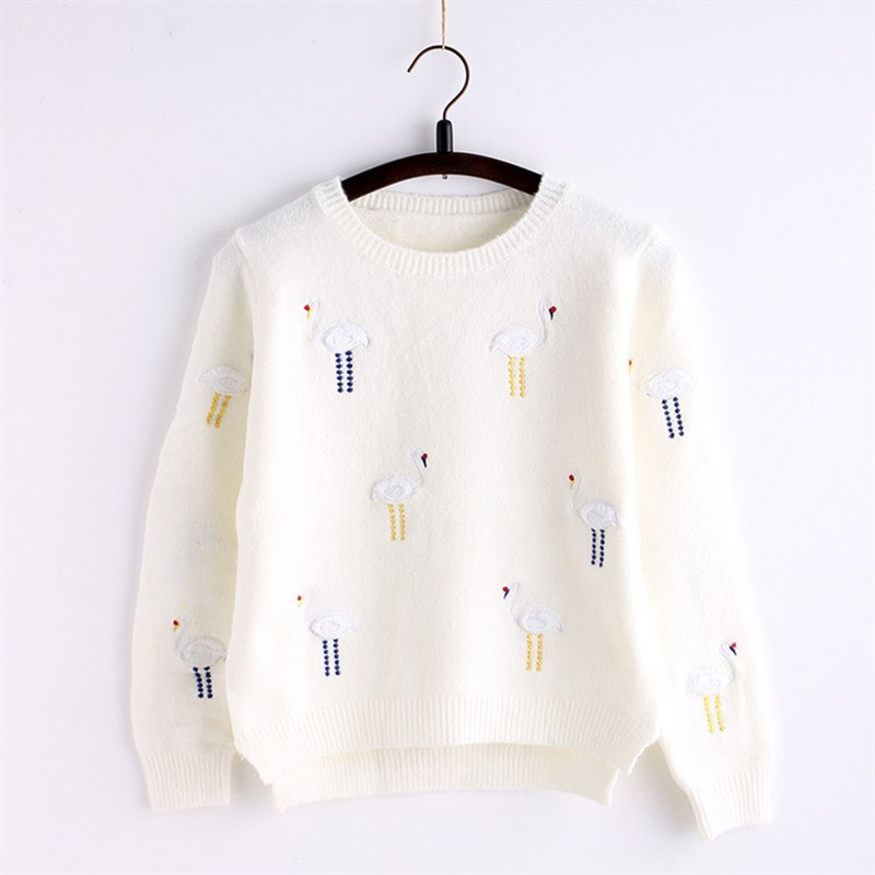 C85069A women slim korean style sweater/Embroidery Slim ladies sweater