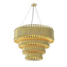 Decorative Metal Tube Hanging Pendant Light Modern Golden Metal Brubeck Chandelier