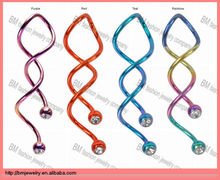 Anodized Titanium Triple Twist Double Gem Spiral Industrial Barbell Piercing