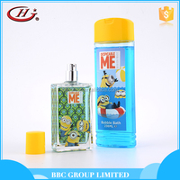 BBC Minions Gift Sets OEM 005 236ml Cartoon bottle mild refreshing kids eau de toilette and bulk bubble bath