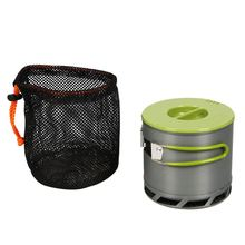 1.2L Portable Anodized Aluminum 1-2 People Outdoor Camping Cookware Heat Collecting Exchanger Cooking Pot with Mesh Bag