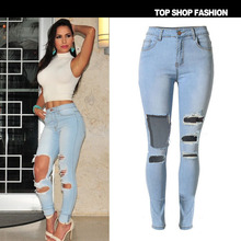 Hole Jeans Summer Fashion Light Blue Woman Pants High Waist cowboy ripped jeans
