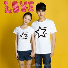 Fashion couple love custom design cotton printed couple t shirt in china