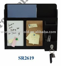 2011 the most popular wooden memo board with a pen holder and a iron hook