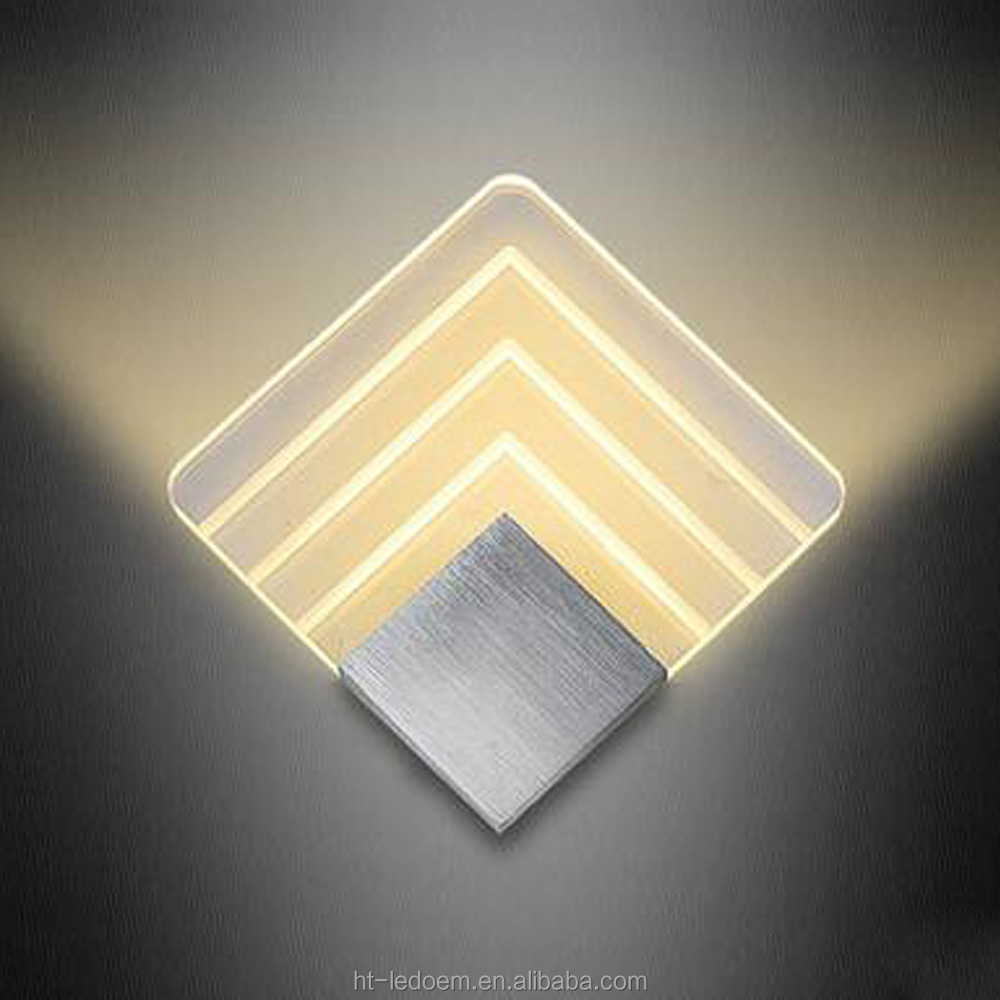 200*200*42mm 5W indoor Modern minimalist square shape Acrylic led wall lamp