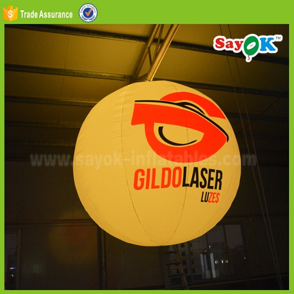 Commercial exhibition decoration 2m hanging inflatable led light balloon ball price for sale