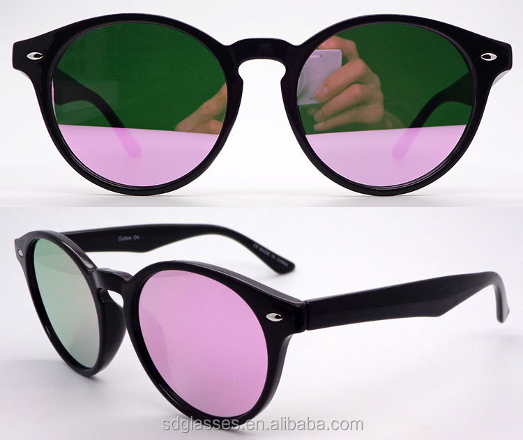 New arrival round pink mirror lens cat.3 polarized your own logo occhiali sunglasses
