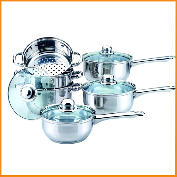 Stainless cooking pot and pans