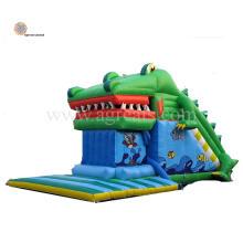 inflatable alligator game slide air bouncer inflatable trampoline,commercial quality inflatable slides for sale G4057
