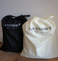 Custom Extra Large Natural Cotton Laundry Bag With Rope