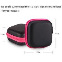 custom made small round eva zippered storage case for earphone packing