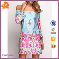 Designer One Piece Woman Dress, Colorful Ethnic Printing Clothing, Multicolor Off the Shoulder Floral Dress