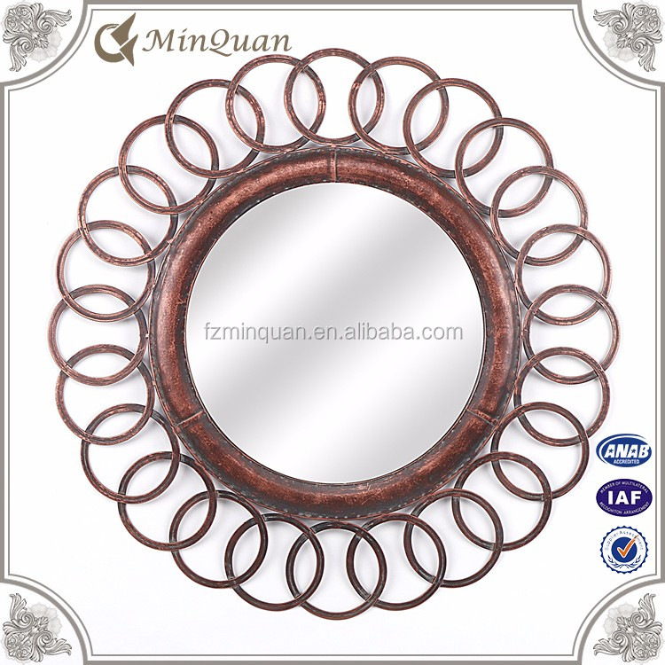 antique round metal wall mounted mirror decorative