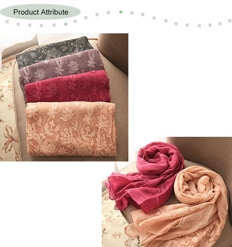 Custom Embroidered Wholesale Cotton Scarf