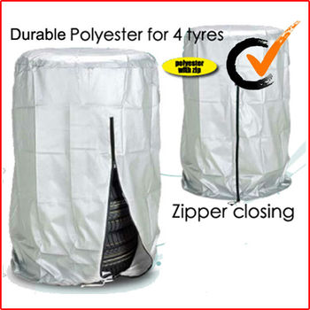 Single tire cover in polyester for 4 tyres