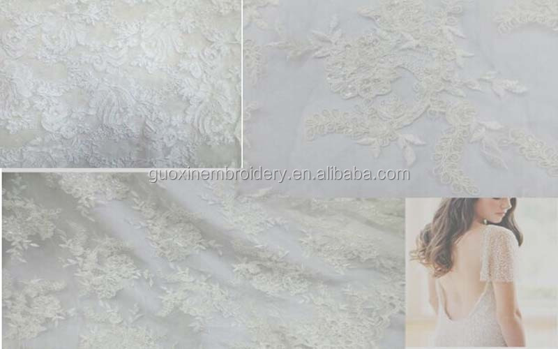2015 bridal guipure lace fabric with sequins and glass beads