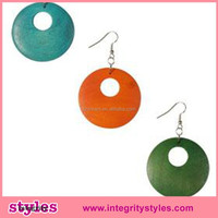 New arrvial fashion colorful wood open hoop earring