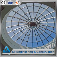 Pre fabricated steel roof structure glass skylight