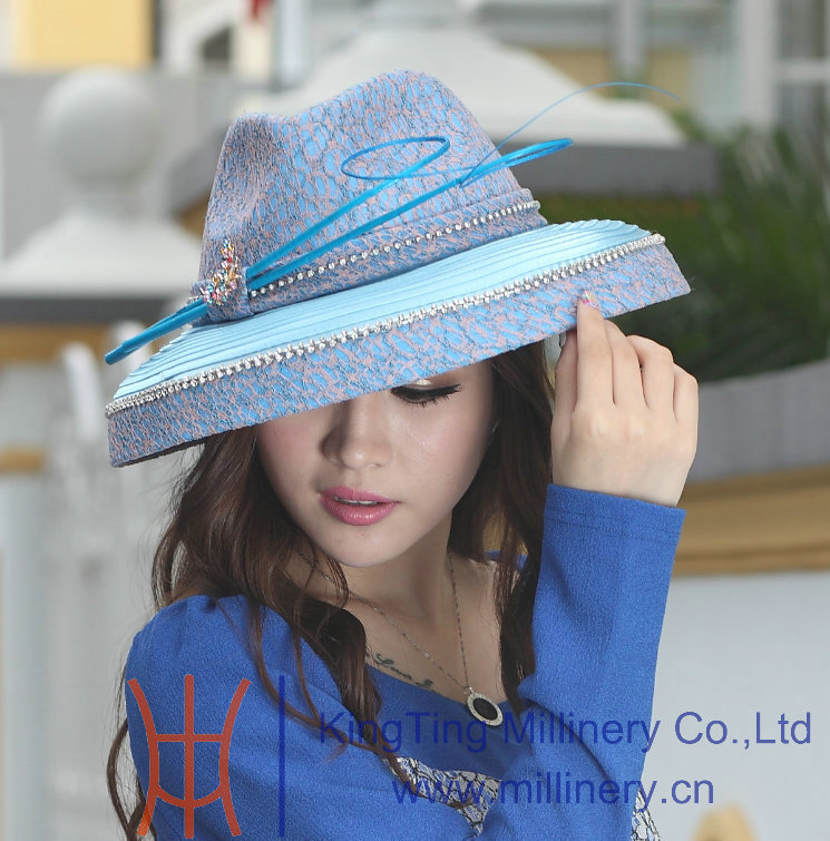 New ladies elegant dress hat satin dress hat blue color