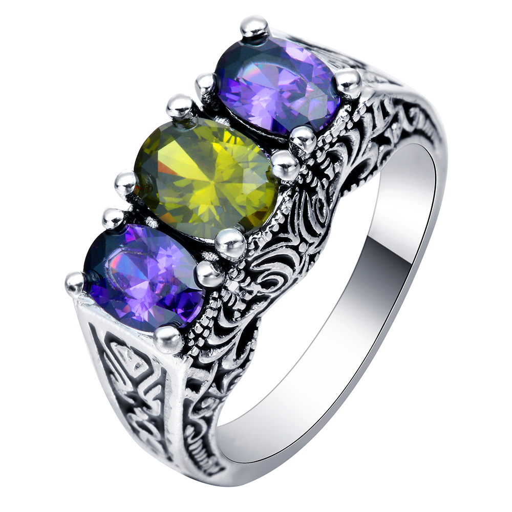purple CZ zircon rings <strong>jewelry</strong> for women silver plated rings