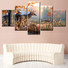 5 Panel Wall Art Painting Canvas Prints Deer In Autumn Forest Sunset Poster Home Decor Wildlife Animal Pictures Print On Canvas