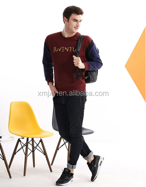 2016 new design Youthful vitality Men's dark wine red round collar stitching leisure jumper Classic series