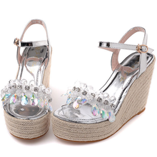 SAA3624 New 2016 summer bling rhinestone sweet women wedge sandals
