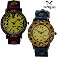 New arival fashion leather quartz watch arabic numbers wristwatches vintage