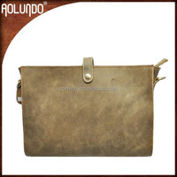 Guangzhou wholesale Aolundo brown color long strap fashion shoulder genuine leather messenger bag