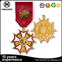 Matte bright gold with hard soft enamel stars russion military ribbon medal with small pin cluth pioneer military medal