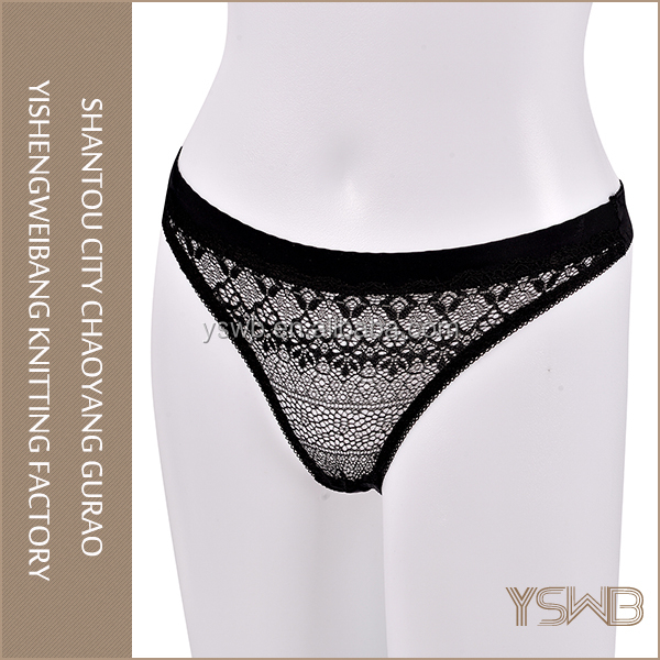 Hot selling quick dry hipster black lace t-back girls sexy tight panties