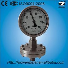 100mm full stainless steel thread type vacuum diaphragm seal pressure gauge