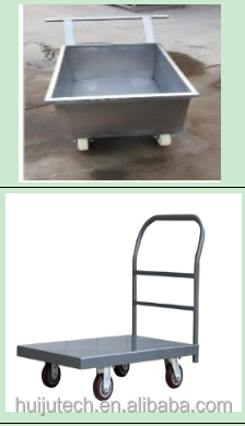 2016 HUIJU Top-quality trolley cart stainless steel push trolley poultry farm cargo trolley