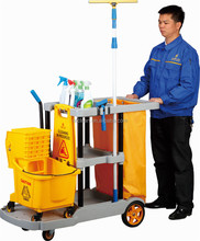Multifunction hotel/restaurant/staion janitor plastic cart floor cleaning trolley