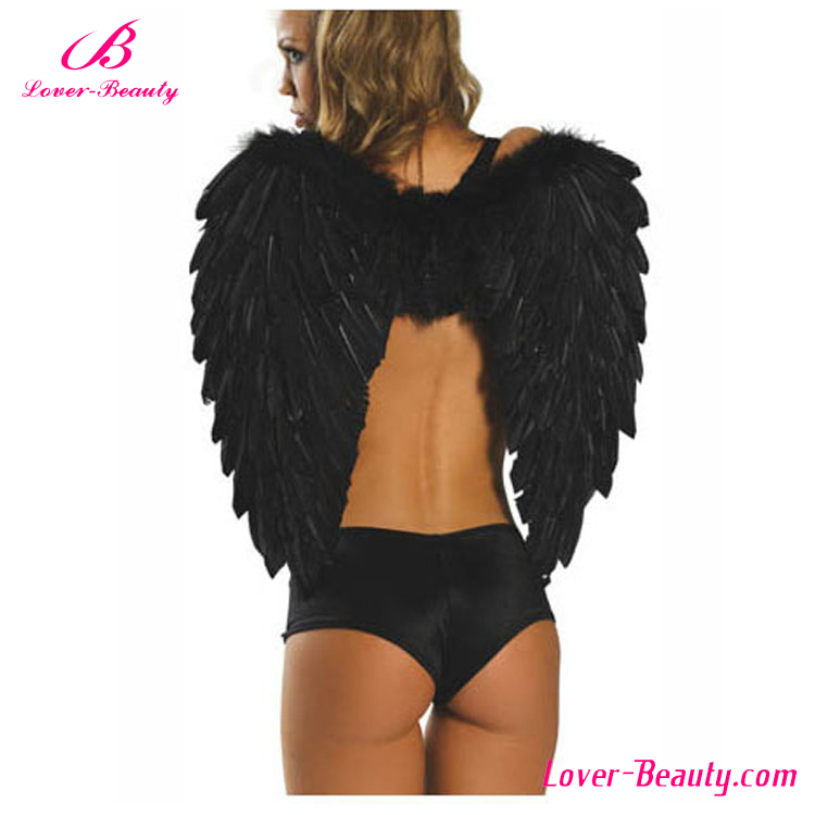 Wholesale women black large feather angel wings