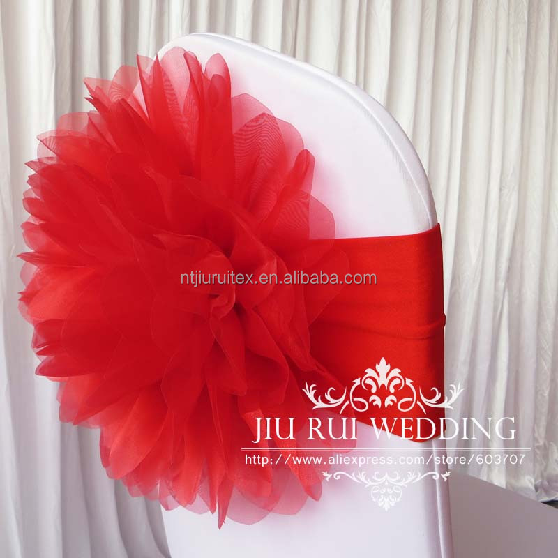 New Desgin Organza Handmade Lycra Flower Chair Band Flower Chair Sash for Event Decor
