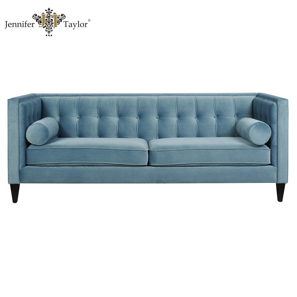 Blue fabric wood frame living room sofa classic chesterfield lounge
