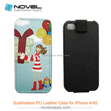 Heat transfer 2D Pu leather phone case for iPhone4/4S