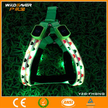 2015 Cheapest LED flashing dog clothes firm pet harness