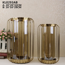 Modern glass decoration pieces flower vase with metal for hotel lobby decoration