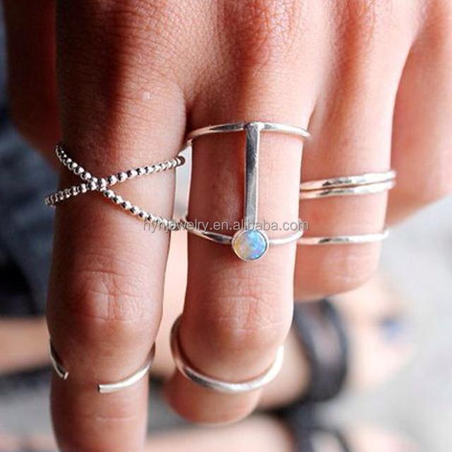 Best selling single opal stone ring designs white gold platinum wide finger 925 italian silver ring set