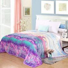 Beautiful brief style print linens summer throw blankets coral fleece fiber bedsheet plaids multifunctional bedspread