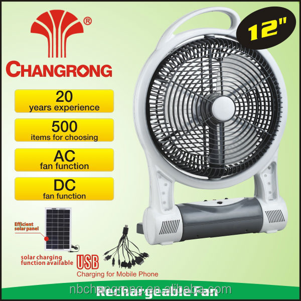 plastic machine motor small fan powerful battery rechargeable fan with led light