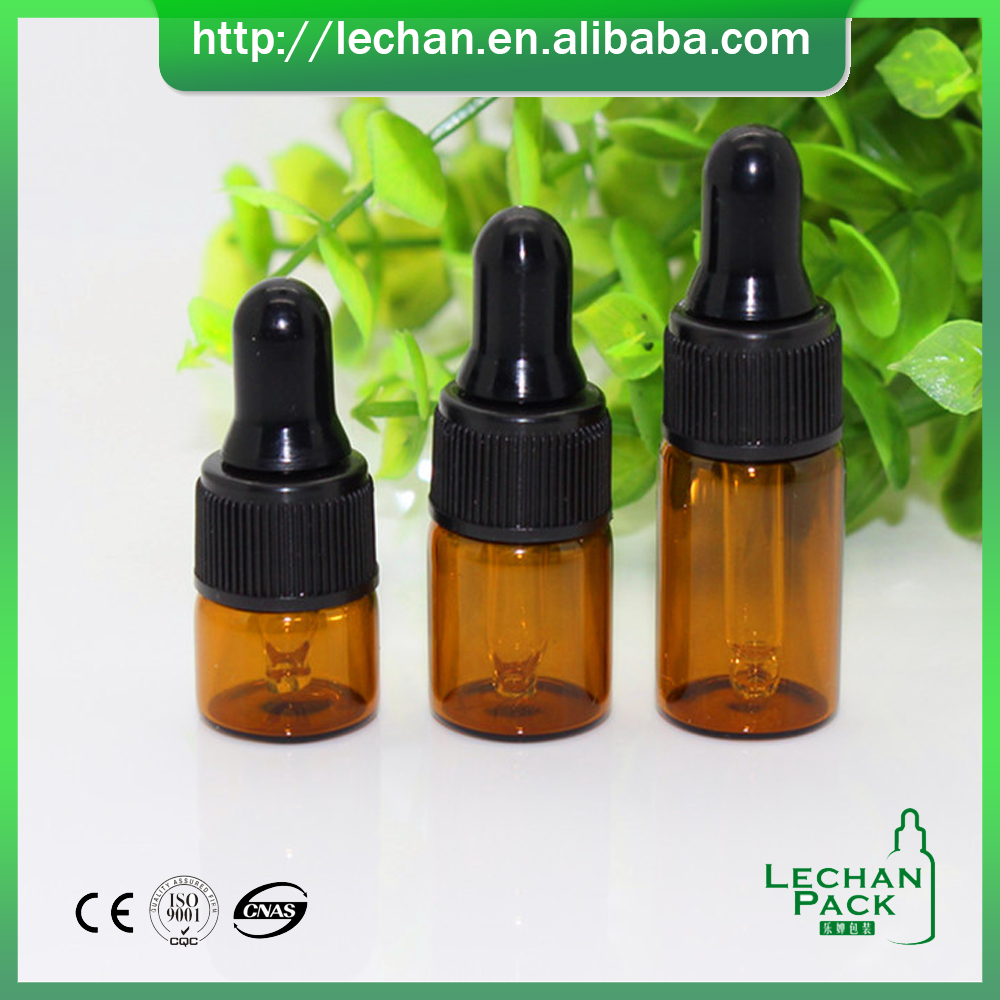 Best Essential Oil brown Glass solid litle bottle Sample Vials-5ml bottles w/Glass dropper/Plastic Screw Cap/Silicon bulb